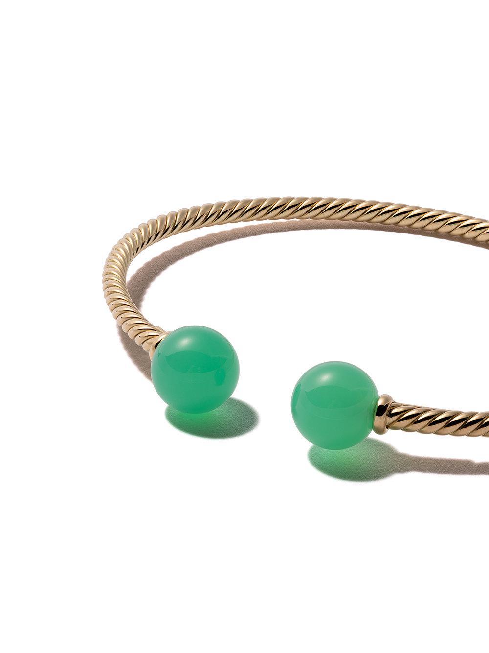 18kt yellow gold Solari chrysoprase bead cuff bracelet - Green David Yurman RsRDp6W