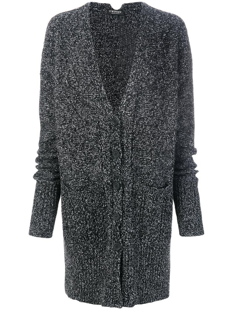 Twin set Speckled Long Cable Knit Cardigan in Black | Lyst