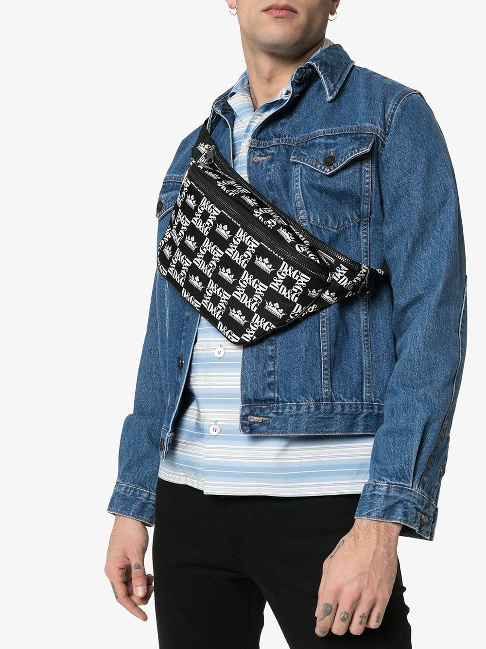70407a63ee Lyst - Dolce & Gabbana Black And White Logo Crown Print Cross Body Bag in  Black for Men