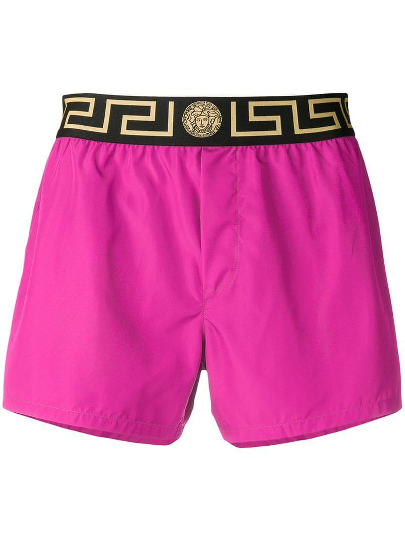 74800146b8 Lyst - Versace Logo Band Swim Shorts in Pink for Men