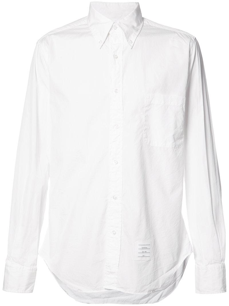 Thom browne button down shirt in white for men lyst for Thom browne white shirt