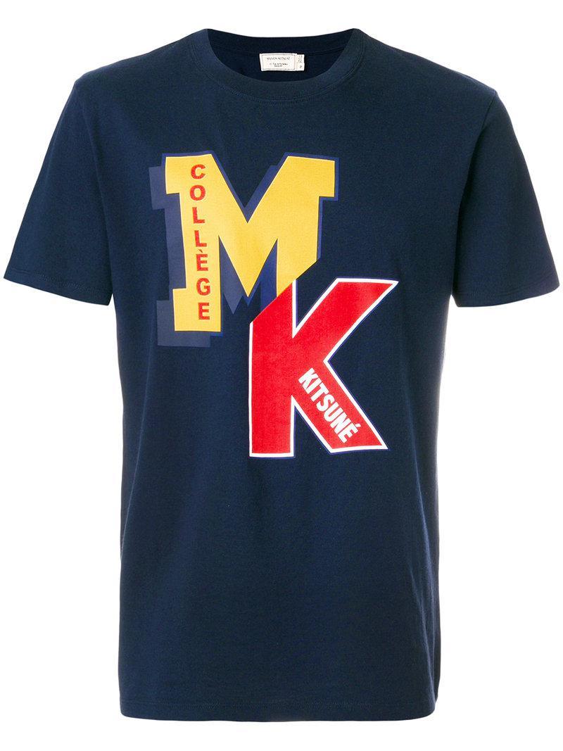 Lyst Maison Kitsun Logo Print T Shirt In Blue For Men