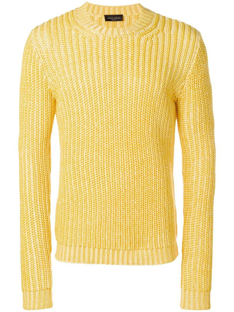 77d074c8041 Roberto Collina Chunky Knit Jumper in Yellow for Men - Lyst
