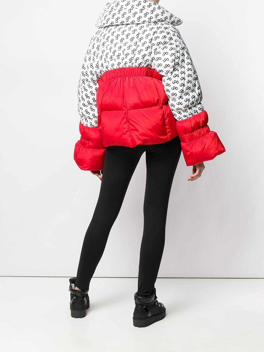 ddc8f90cfb6 Saks Potts Logo Print Panelled Puffer Jacket in White - Lyst