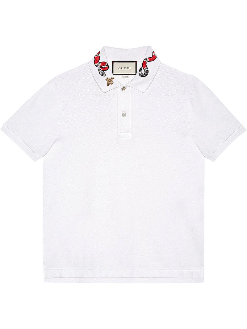 bfbceece Gucci Kingsnake Embroidered Polo Shirt in White for Men - Lyst