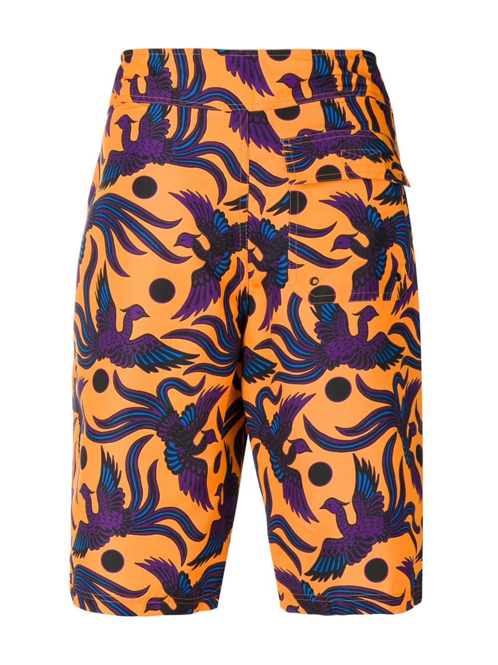 e6f2cd354 Lyst - KENZO Bird Print Swimming Shorts in Orange for Men