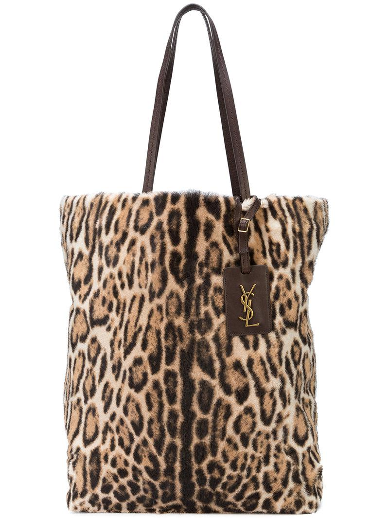 4d3cff2e0420 Lyst - Saint Laurent Leopard Fur Shopper Bag in Brown