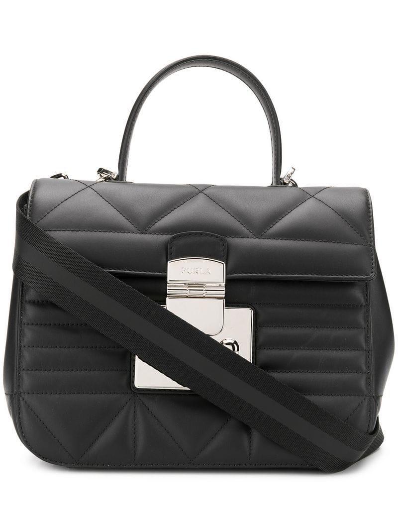 8e42063173cd Furla Quilted Fortuna Bag in Black - Lyst