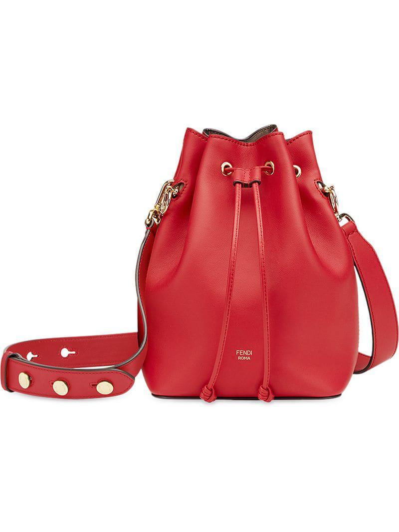 5ce04653ae7c Fendi Mon Tresor Bucket Bag in Red - Lyst