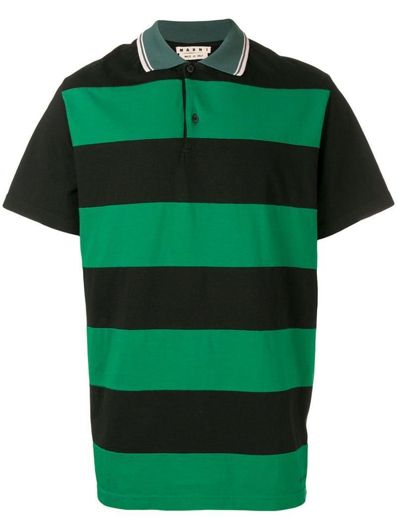 09b700e5 Marni - Green Striped Polo Shirt for Men - Lyst. View fullscreen