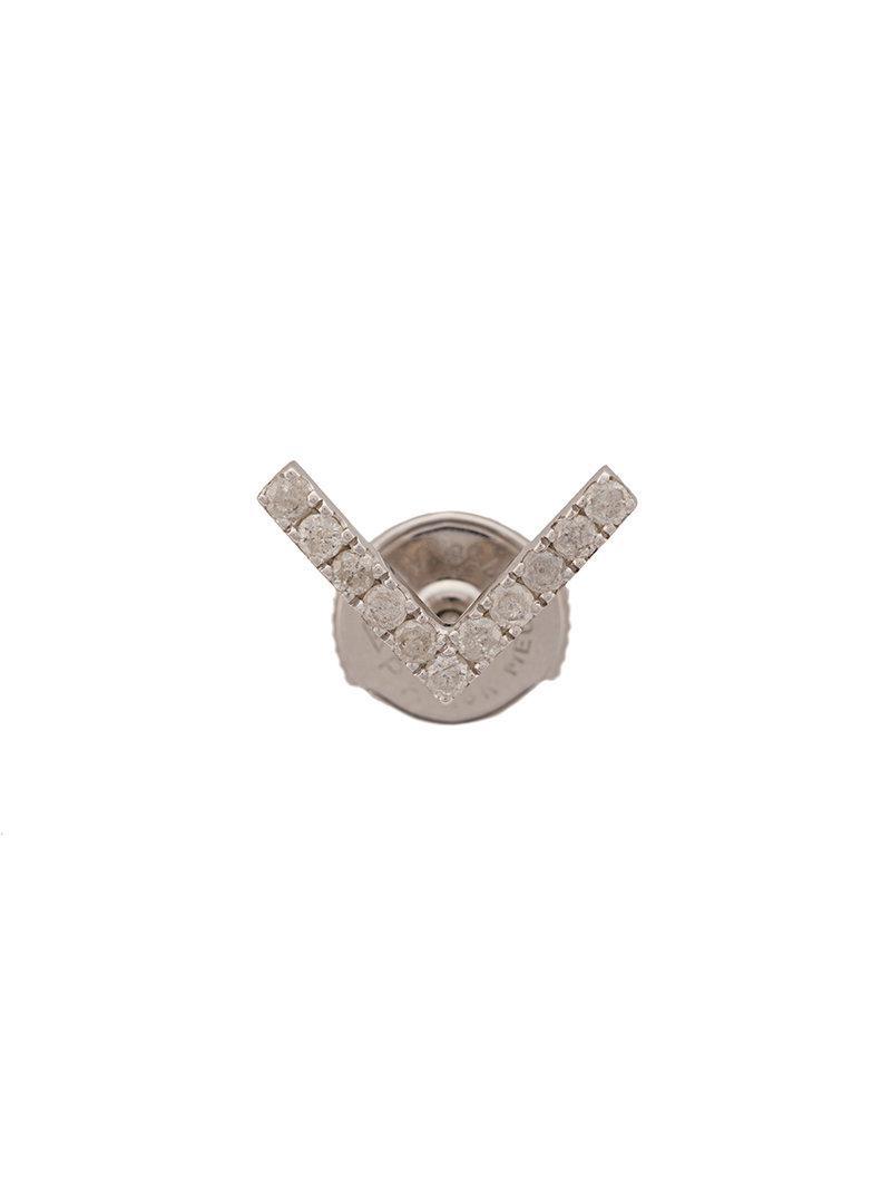 Yvonne Léon 18kt gold and diamond V bar stud earring - Metallic G2JBnQK