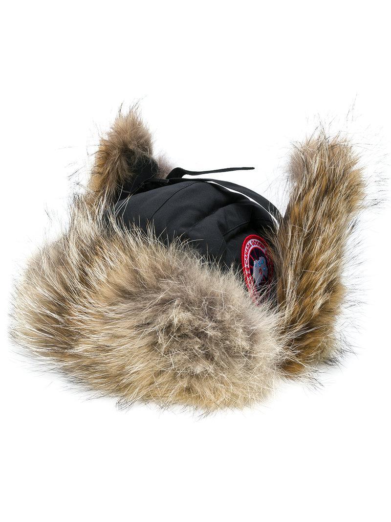 75fdcd3ec64 Lyst - Canada Goose Coyote Fur Trim Aviator Hat in Black for Men