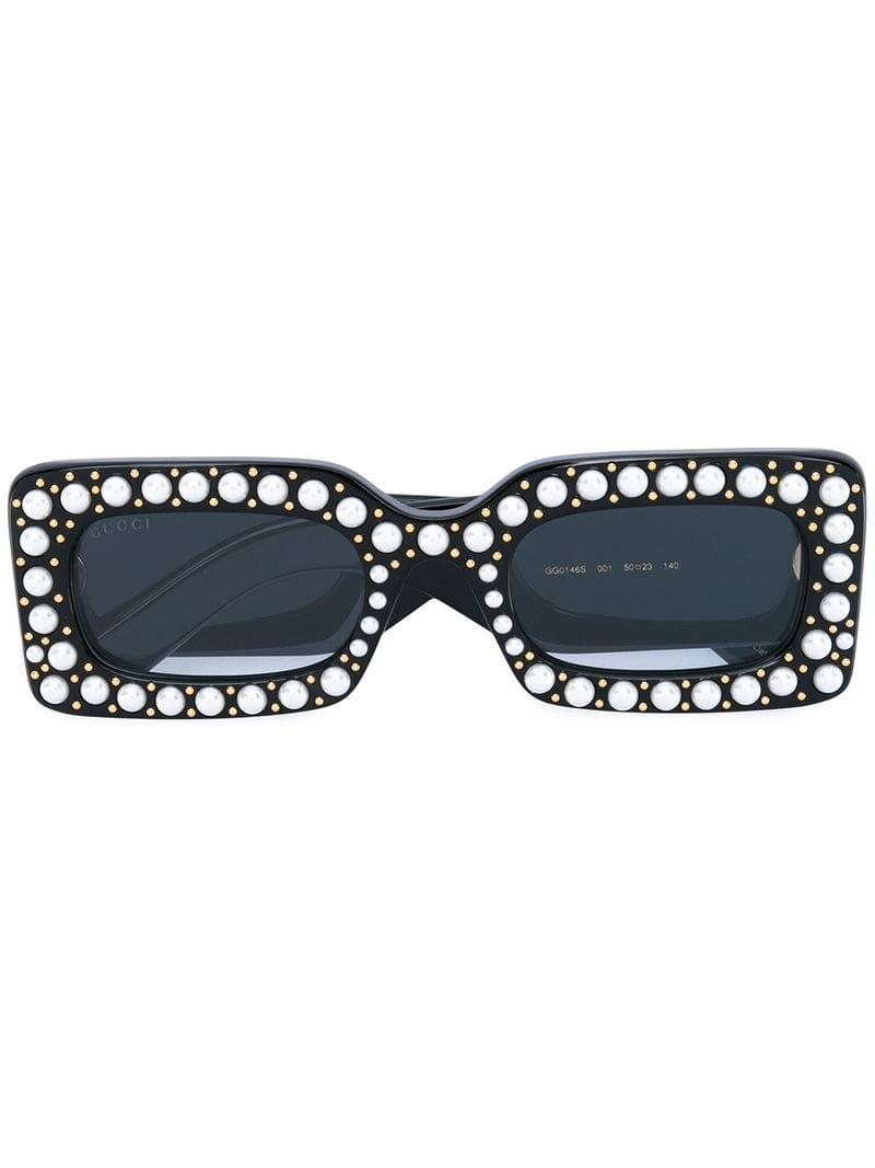 ce6a257567 Lyst - Gucci Pearl Embellished Sunglasses in Black