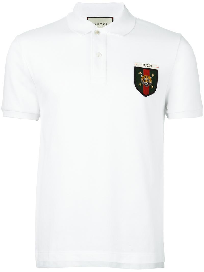 e1b3c909c Gucci Web Tiger Crest Polo Shirt in White for Men - Lyst