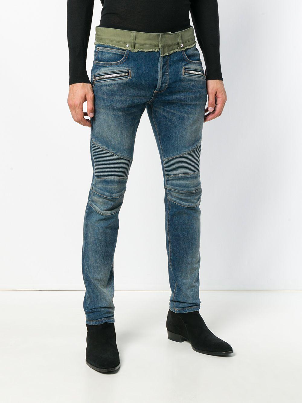 7bc944f8 Balmain - Blue Biker Skinny Jeans for Men - Lyst. View fullscreen