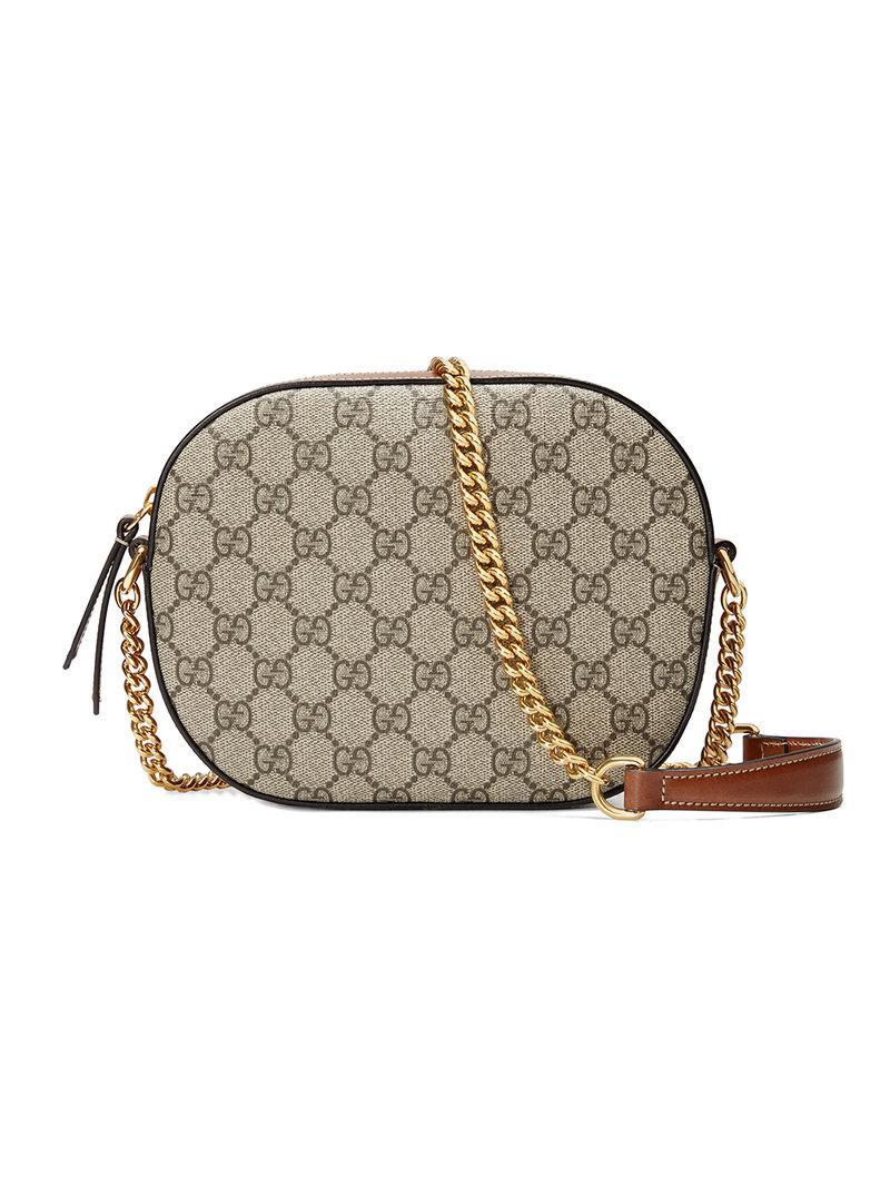fa94f0494 Gucci Gg Supreme Mini Chain Bag in Brown - Lyst