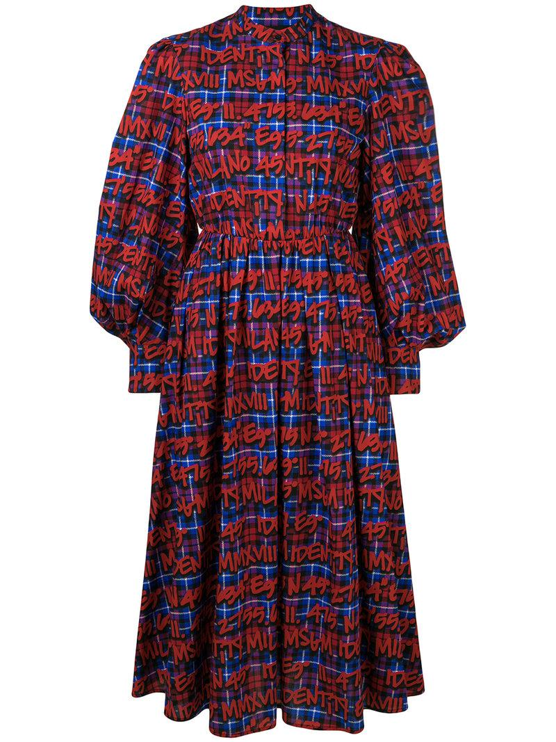 printed checked dress - Red Msgm goKf0RkHb