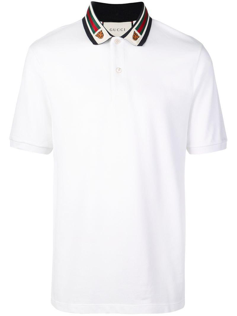 9f934e476 Gucci - White Cotton Polo With Web And Feline Head for Men - Lyst. View  fullscreen