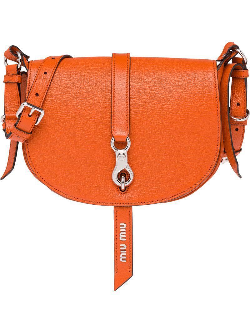 672e9a0d392f Miu Miu - Orange Madras Shoulder Bag - Lyst. View fullscreen