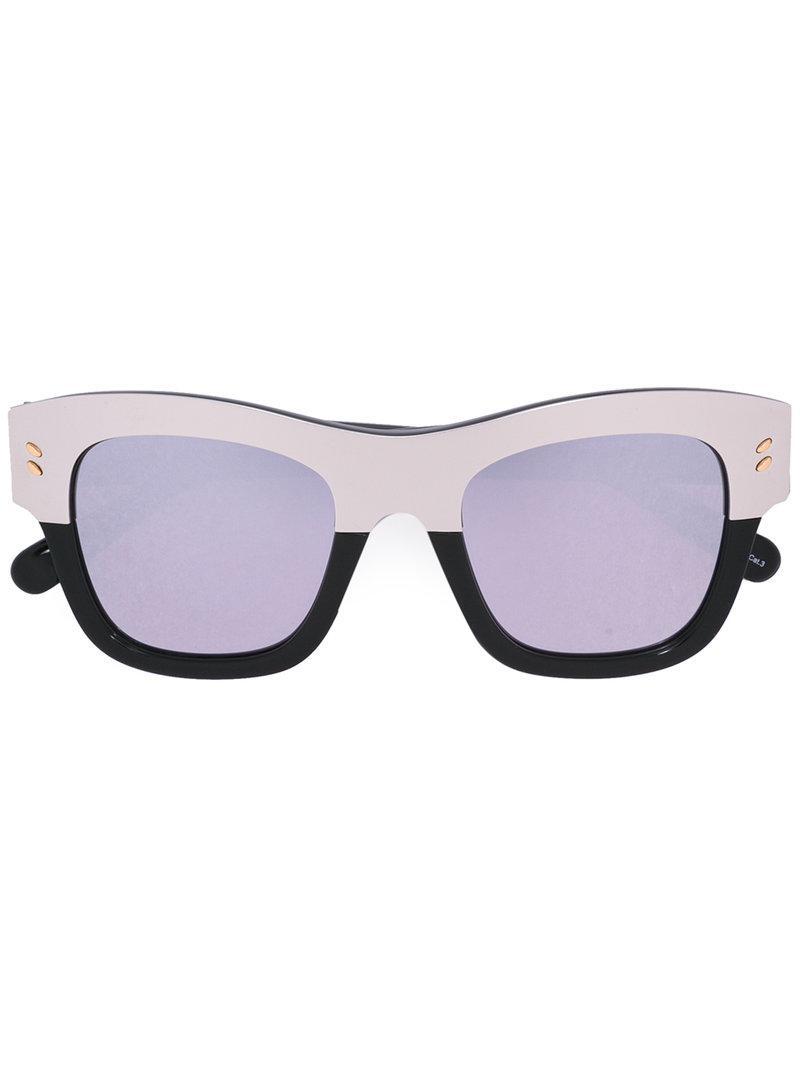 Sunglasses In Two Tone Metallic Oversized Square Lyst Stella Mccartney SWZqO