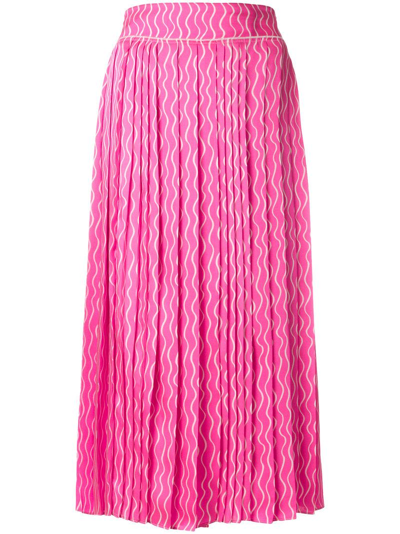 a6d42c89af Lyst - Victoria, Victoria Beckham Wiggle Scribble Pleated Skirt in Pink
