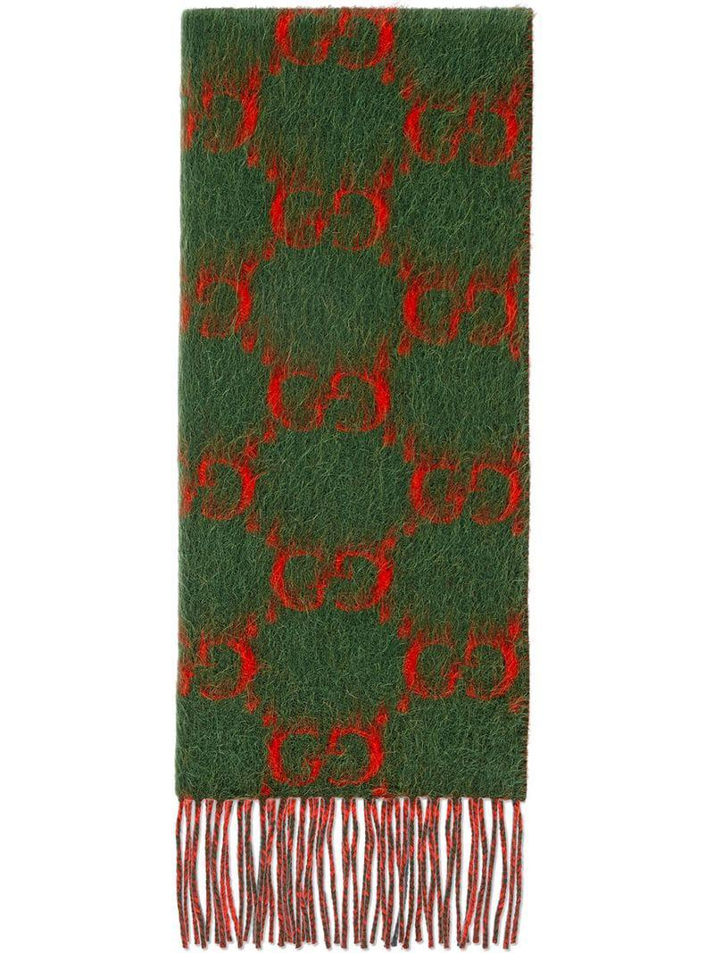 b2390f7a0e09c Lyst - Bufanda de Alpaca y Lana con GG Gucci de hombre de color Verde