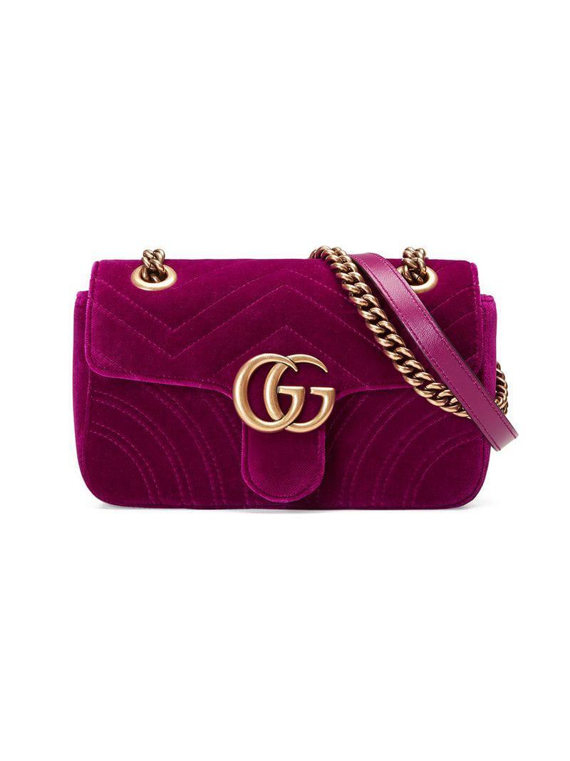 b62b5c6c2a1 Gucci GG Marmont Velvet Shoulder Bag in Pink - Save ...
