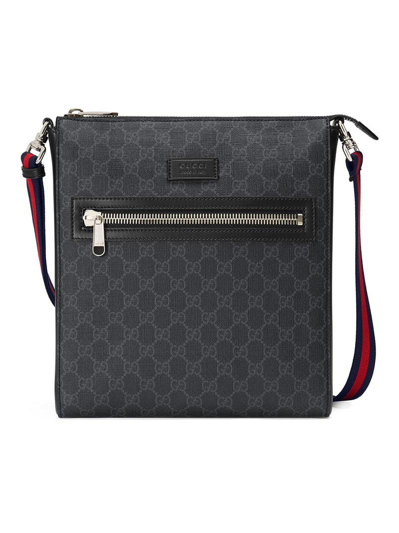 7904f78423df Gucci GG Supreme Messenger in Black for Men - Lyst