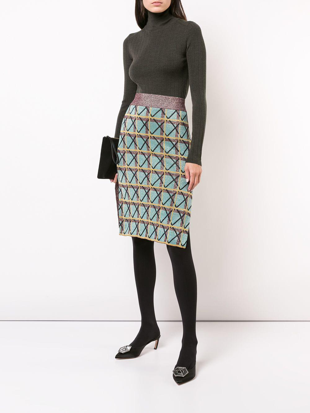 a2307aaeac8e Lyst - ALEXACHUNG Geometric Pattern Pencil Skirt