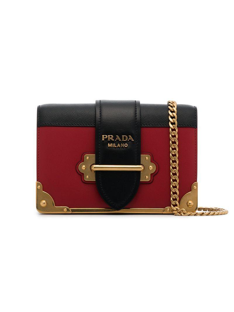 191426b6e2e2 Lyst - Prada Black And Red Cahier Mini Leather Shoulder Bag in Red ...