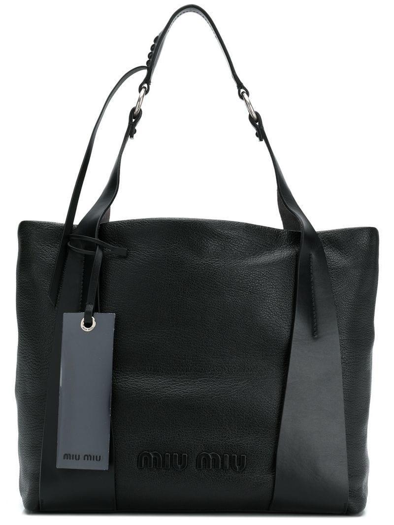 Lyst - Miu Miu Logo Tote Bag in Black 78b4c7d8d8