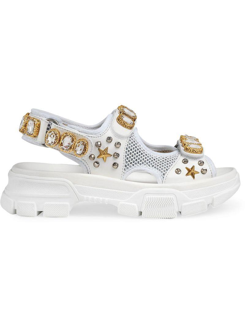 70473686ccf Gucci Leather And Mesh Sandal With Crystals in White - Save 14% - Lyst