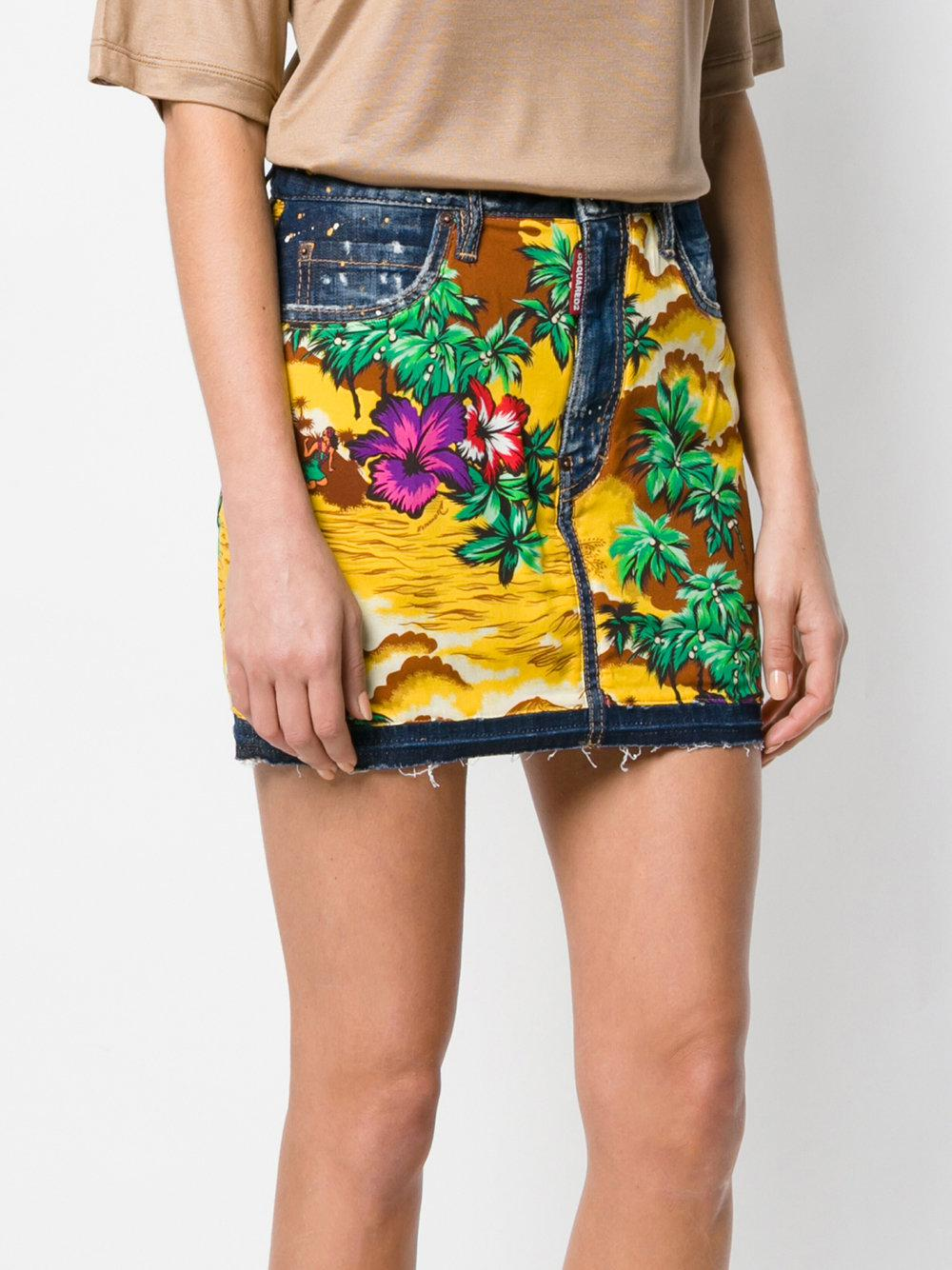 Buy Hawaiian print denim skirt - Multicolour Dsquared2 Browse Shipping Outlet Store Online cwWR8PM1Y