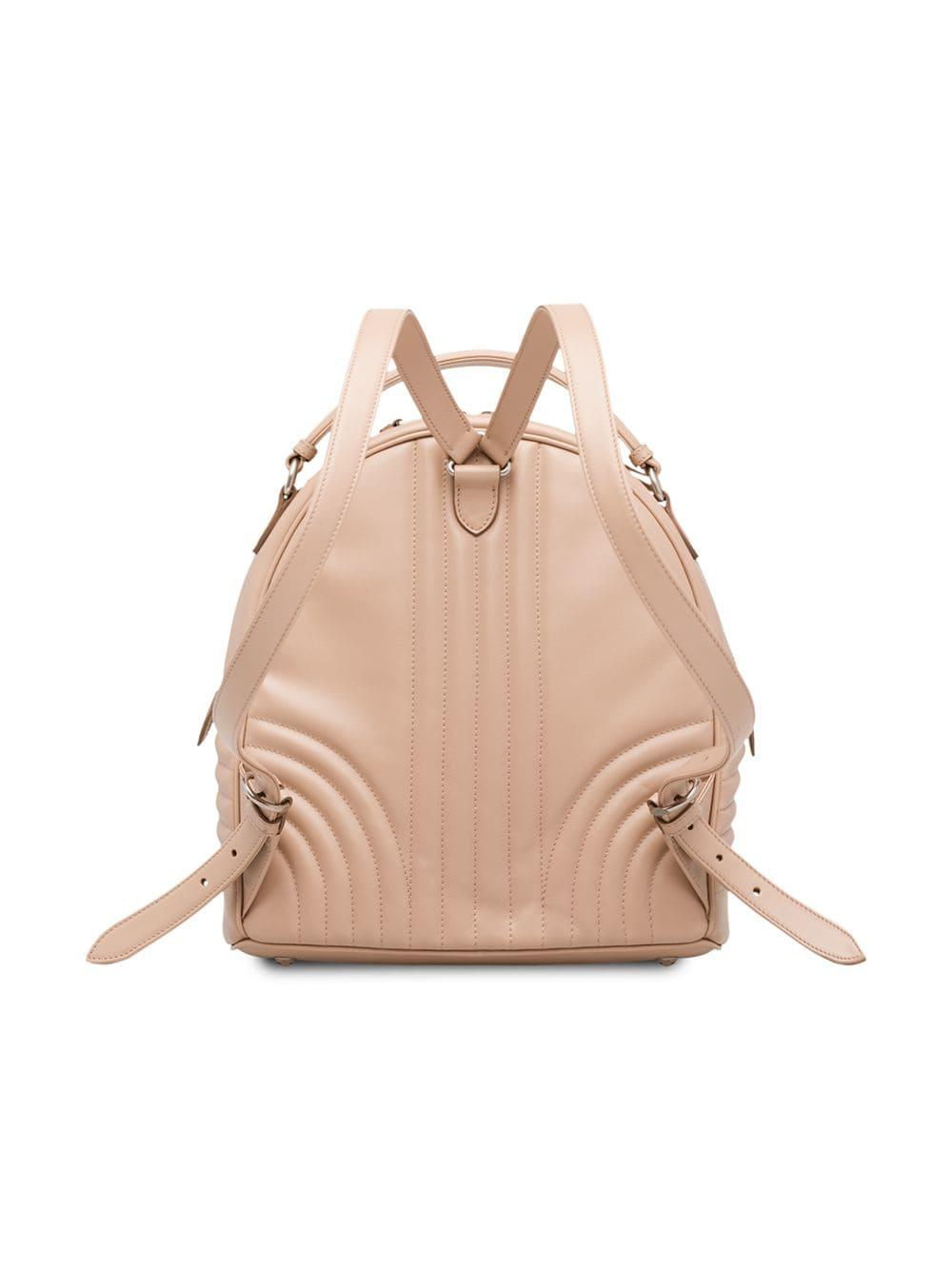 d2b8b89468c7 Lyst - Prada Diagramme Leather Backpack in Pink