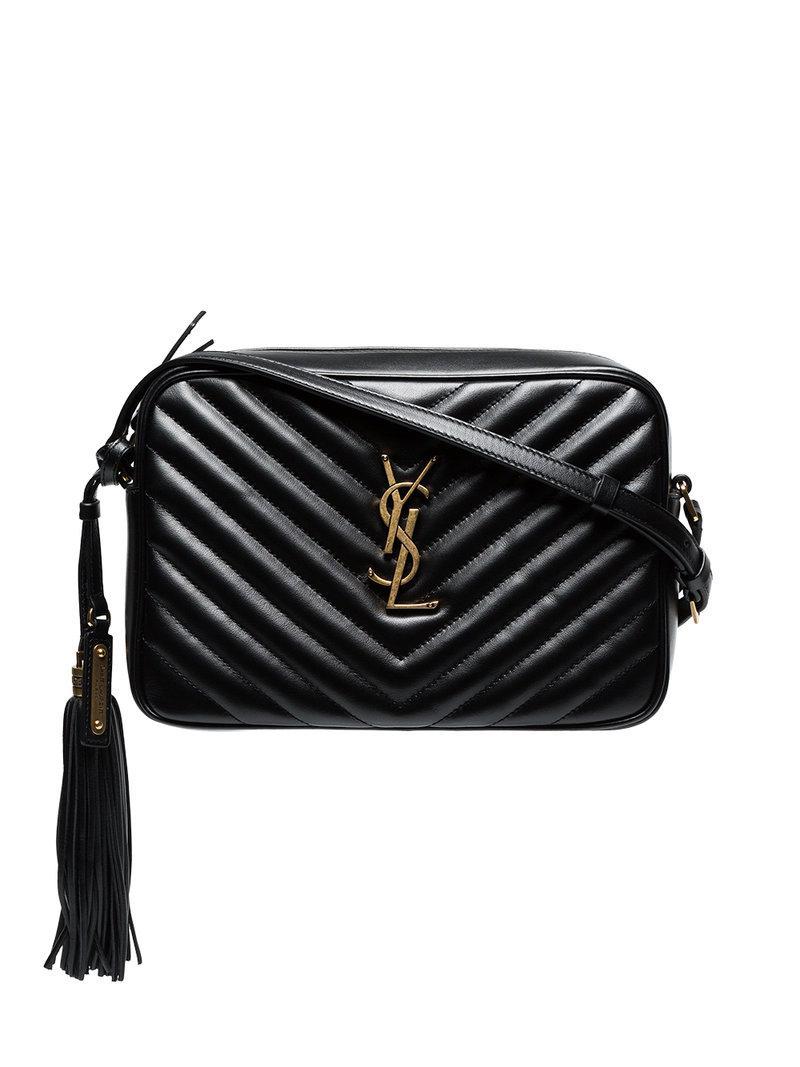 2143e1304e26 Saint Laurent Black Monogram Lou Leather Cross Body Bag in Black - Lyst