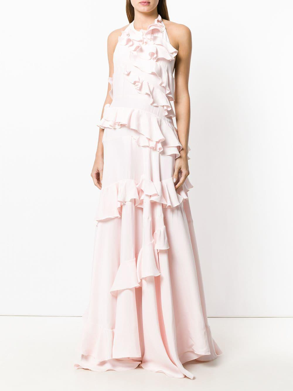 9f589529d9082 Lyst - Maison Rabih Kayrouz Ruffle Trimmed Gown in Pink - Save 2%
