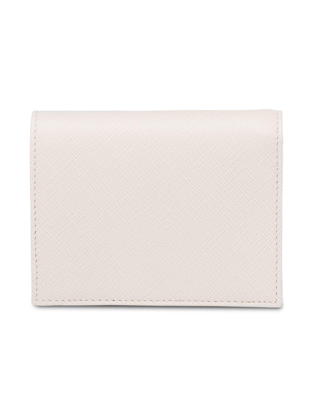 3099e1a2fe66 Prada Small Saffiano Leather Wallet in White - Lyst