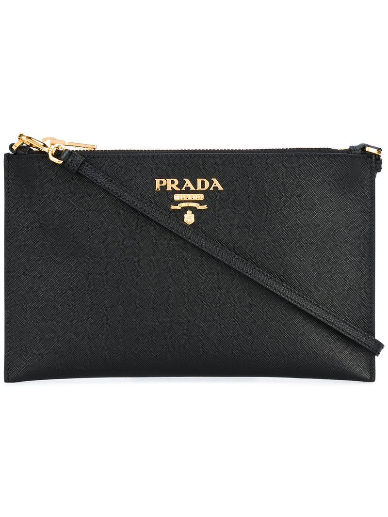 8efdc4ceaf272b Prada - Black - Logo Plaque Clutch Bag - Women - Leather - One Size -. View  fullscreen