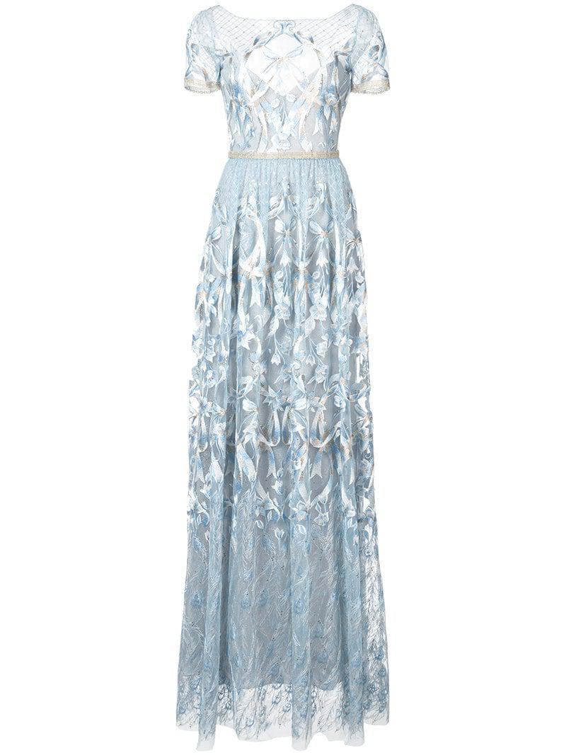 afa161a5f8d8 Lyst - Marchesa notte Embroidered Plunge Back Gown in Blue
