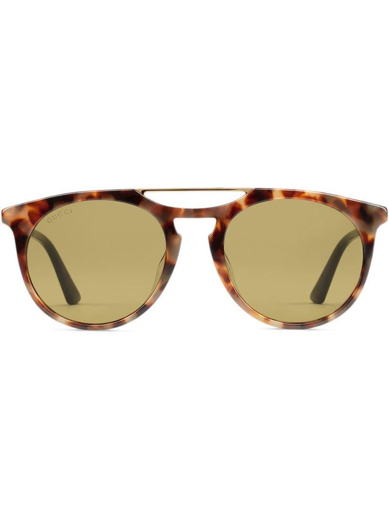 aa15c28c01a Gucci Round-frame Acetate Sunglasses in Brown for Men - Lyst
