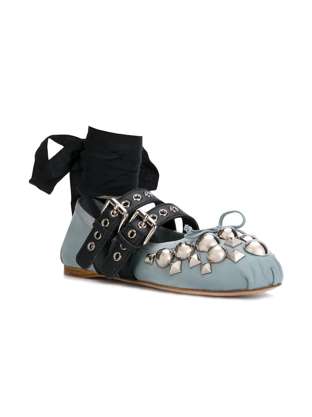lyst miu miu embellished ballerinas in blue. Black Bedroom Furniture Sets. Home Design Ideas