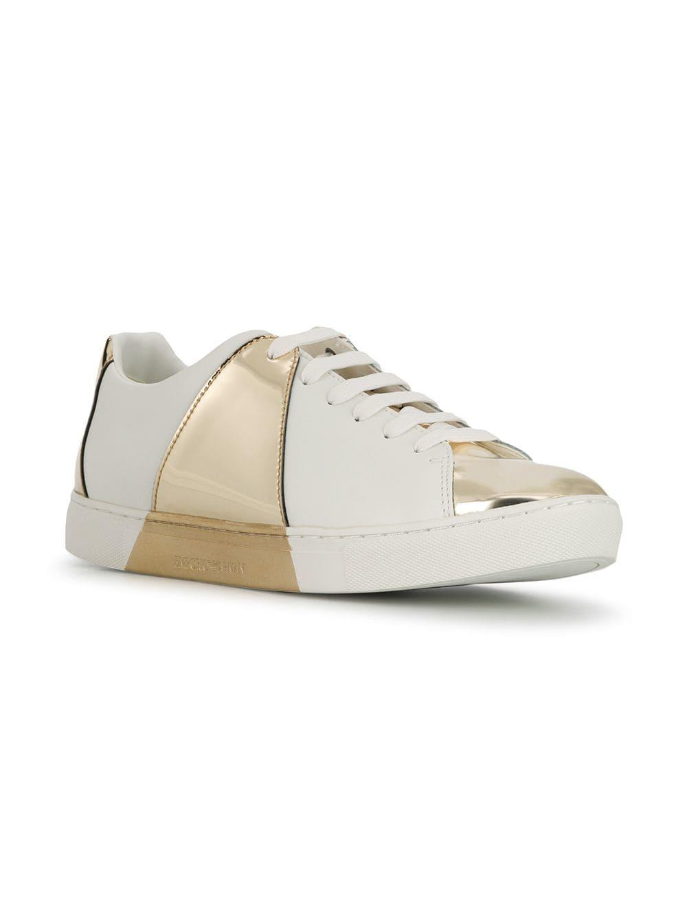 430b4b1be0 Emporio Armani Classic Sneakers With Mirror Detail in White - Lyst