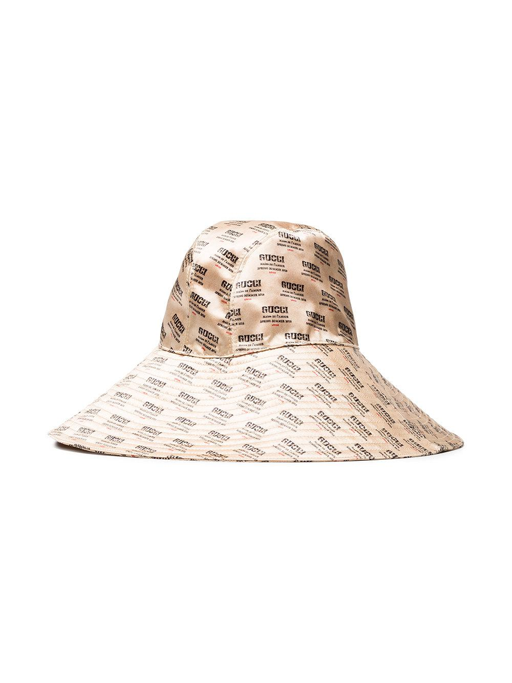 3fbe3b9d8 Gucci Stamps Hat in Natural - Lyst