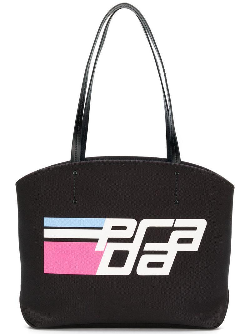 Lyst - Prada Logo Print Tote Bag in Black - Save 15% a5d7d4dc3d