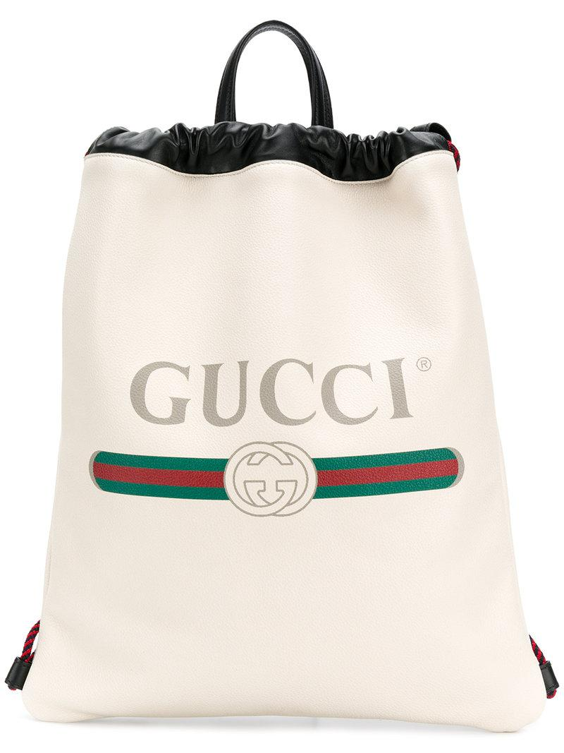 532e7ea1550 Gucci Logo Print Drawstring Backpack in White - Save 6.25% - Lyst