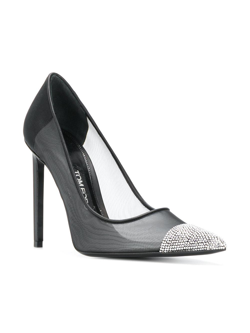 b9fedf17b0ac Tom Ford Crystal Embellished Pumps in Black - Lyst