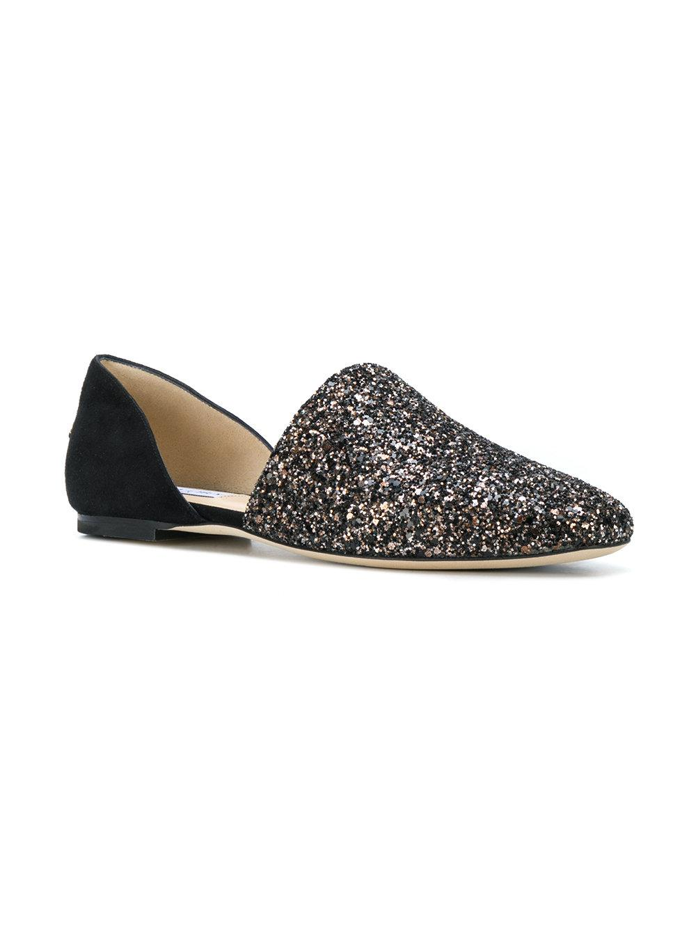 Slipper GLOBE FLAT suede black fabric glitter bronze Jimmy Choo London f67zc