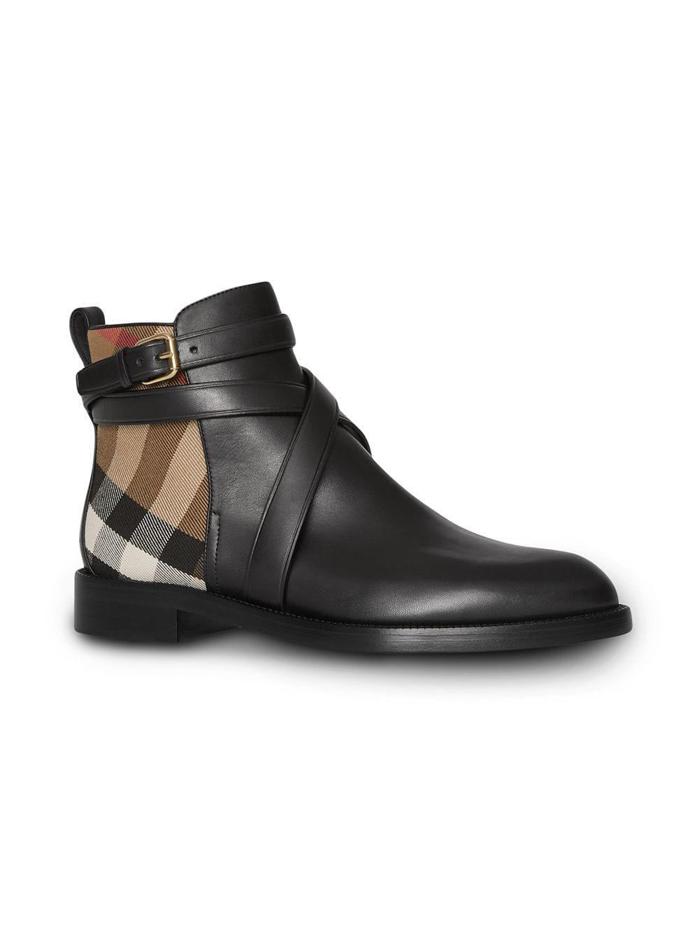 d16dea472e1 Lyst - Burberry House Check And Leather Ankle Boots in Black - Save 24%