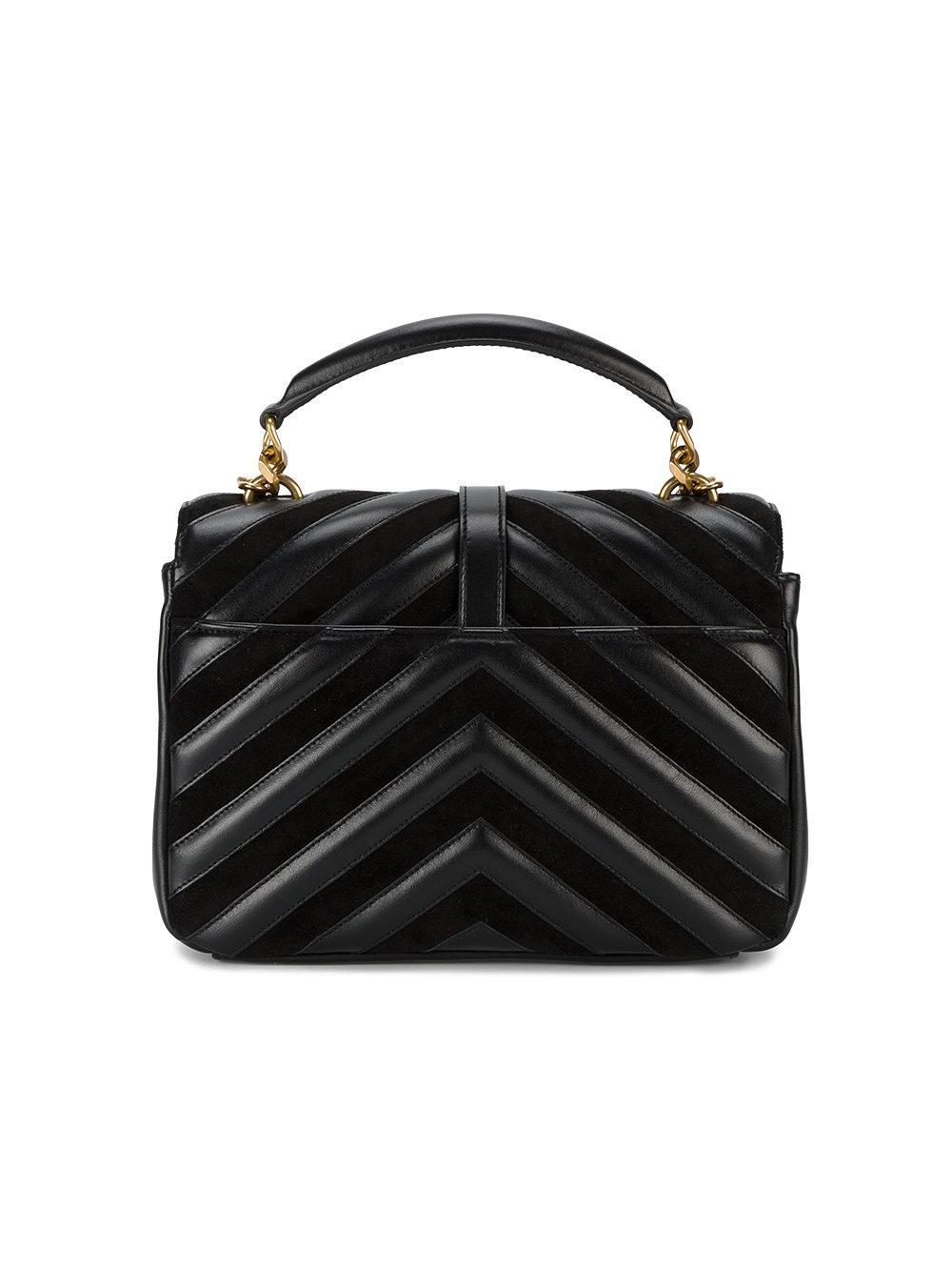 1272cd79f913 Lyst - Saint Laurent Medium Black Leather Collège Monogram Shoulder ...