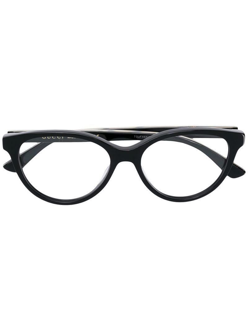 710043e12f1 Lyst - Gucci Cat Eye Frame Glasses in Black